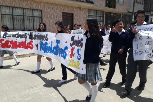 Movilización  prevención de embarazo en Putumayo